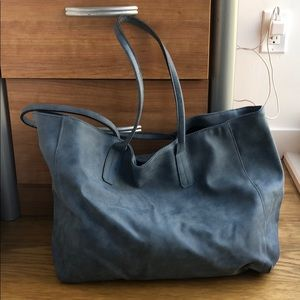 Saks Fifth Avenue oversized blue tote bag